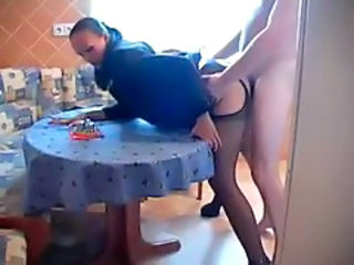 Amateur Clothed Homemade Kitchen MILF Pantyhose