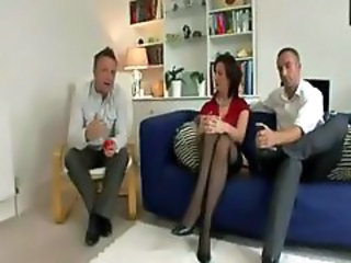 British European MILF Stockings Threesome