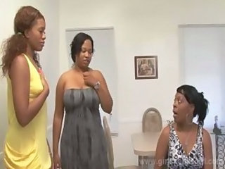 Ebony Lesbian Old and Young Threesome