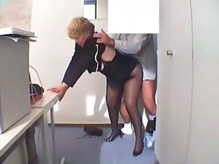 Doggystyle Mature Office Pantyhose