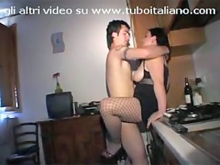 Amateur European Fishnet Italian Kitchen Wife