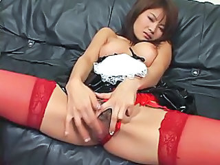 Asian Japanese Maid Masturbating Stockings Teen Uniform