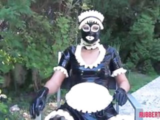 Rubber maid and rubber cat, masturbation, bottle fuck