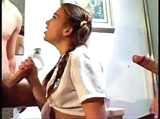 Double Handjob from Cutie in Pigtails So She Won't Have to Was...