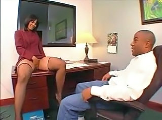 Ebony Masturbating MILF Office Pornstar Stockings
