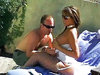 Big Tits Glasses MILF Outdoor Stockings