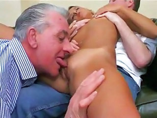 Licking Old and Young Skinny Threesome