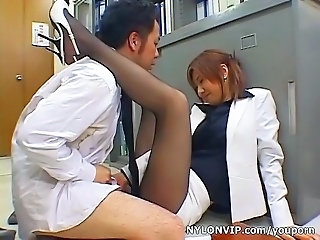 Asian Clothed Japanese Legs MILF Office Pantyhose Secretary