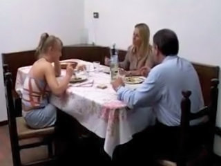 Anal Daddy Daughter Family Kitchen Mom Old and Young Threesome