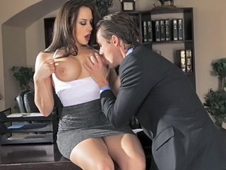 Amazing Big Tits MILF Office Pornstar Secretary Skirt