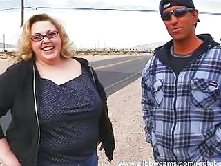BBW Blonde Glasses MILF Outdoor Public