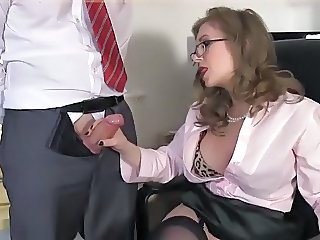 Glasses Handjob MILF Office Secretary