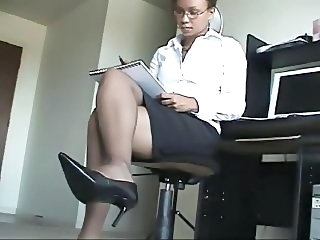 Ebony Glasses Legs MILF Secretary Stockings