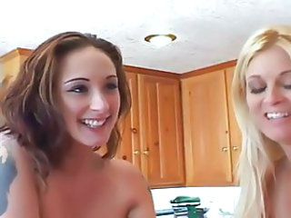 Amazing Blonde Kitchen MILF Teen Threesome