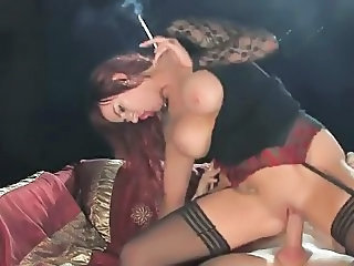Big Tits Riding Smoking Stockings