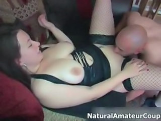 Amateur Fishnet Licking Natural SaggyTits Stockings
