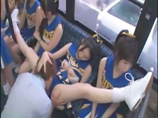 Asian Bus Cheerleader Japanese Licking Uniform