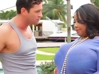 Big Tits Ebony Interracial MILF Outdoor