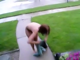Girl Drops Her Towel in the Street