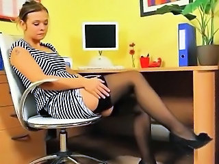 Legs Office Secretary Solo Stockings Teen