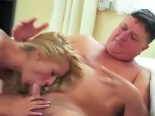 Innocent female making love aged man