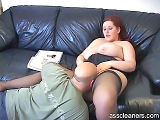 BBW Big Tits Licking MILF Stockings