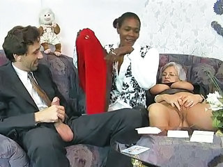 Ebony European German Interracial Mature Older Threesome