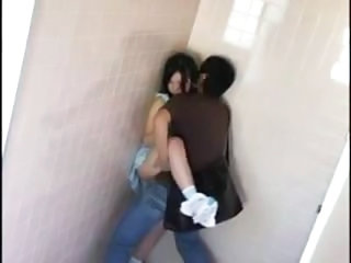 Asian Teen In Dress Fucked In Public Bathroom