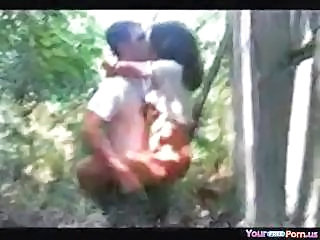 Hidden Cam Captures A Young Couple Fucking Hard In The Woods