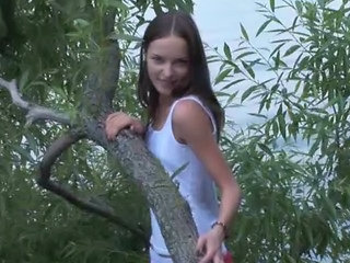 Brunette Russian Playing In A Forest