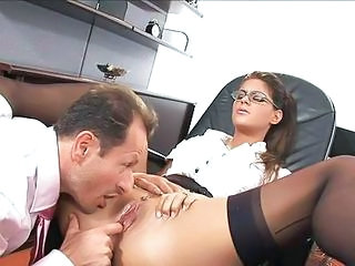 Clothed Glasses MILF Office Pornstar Pussy Secretary Shaved Stockings