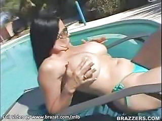 Big Tits Bikini Bus Glasses MILF Outdoor Panty Pool