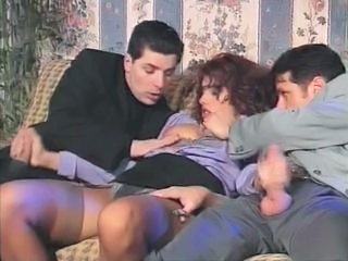 Clothed European Handjob Italian MILF Stockings Threesome Vintage