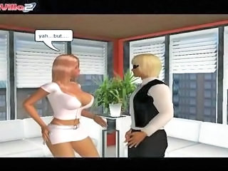 3D cartoon secretary getting ...