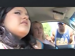 Big Tits Car Interracial Public