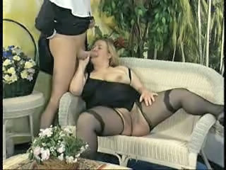 BBW Big cock Blowjob Mature Stockings Vintage