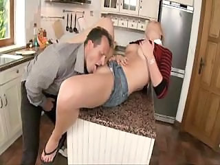 Daddy Daughter Kitchen Licking Old and Young Teen