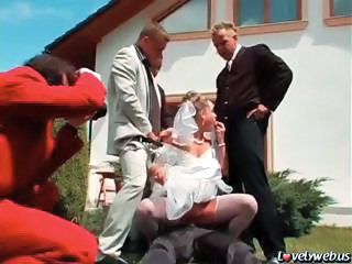 Blowjob Bride Clothed Cuckold Gangbang Outdoor