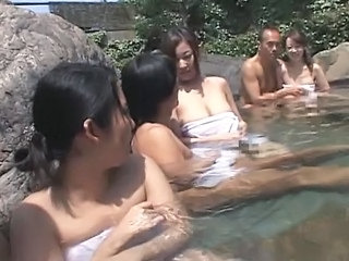 Japanese Swinger Couples Fuck In Hot Spring