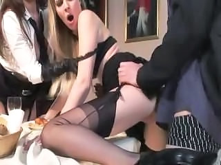 Clothed Hardcore MILF Stockings Threesome