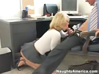Blonde Blowjob Clothed MILF Office Secretary