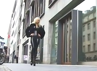 Blonde in latex catsuit & fur _: blondes gothic latex softcore