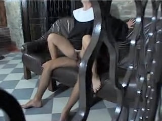 Clothed Hairy Nun Riding Uniform