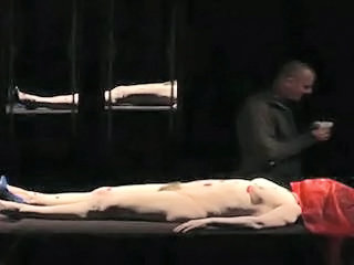 a hairy woman nude in theatre