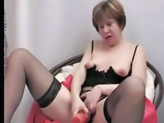 Amazing Dildo Granny Stockings