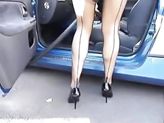 Car Legs Public Stockings Upskirt Voyeur