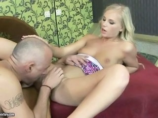 Young blonde enjoys sex with old man