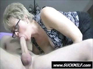 Big cock Blonde Blowjob Glasses MILF Mom Old and Young