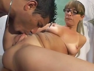 Close up Glasses Interracial Licking Mature Pussy Teacher