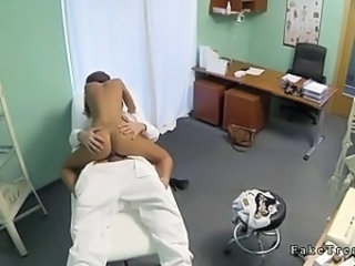 Sexy brunette cunt licked and banged by doctor